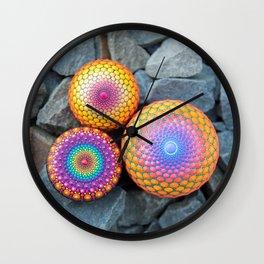 Orange combo - hand painted mandala stones Wall Clock