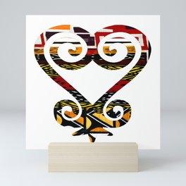 Red and Earthy African Print Sankofa Heart Mini Art Print