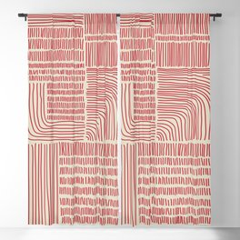 Digital Stitches whole beige + red Blackout Curtain