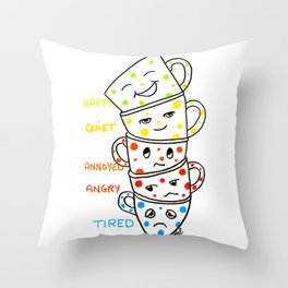 morning coffee moods Throw Pillow