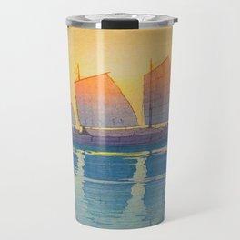 Sailing Boats, Morning Hiroshi Yoshida Modern Japanese Woodblock Print Travel Mug