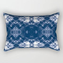Shibori Tie Dye 1 Indigo Blue Rectangular Pillow