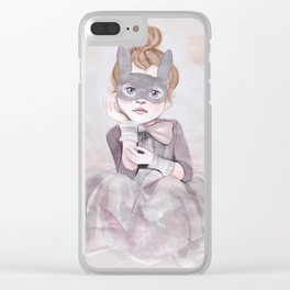 Little Girl in Mask Clear iPhone Case