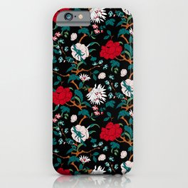 branched, jacquard, looking floral and flowers pattern design iPhone Case