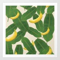 banana leaf Art Prints featuring banana by aisyrahma
