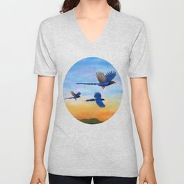 Taiwan Blue Magpies (2) Unisex V-Neck