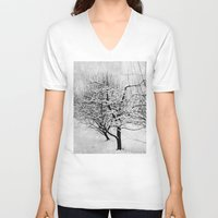 blankets V-neck T-shirts featuring Blankets of Snow by Bella Blue Photography