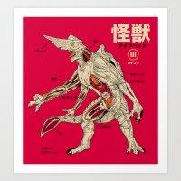 kaiju Art Prints featuring Kaiju Anatomy by MeleeNinja