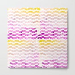 Neon pink yellow watercolor geometric wave pattern Metal Print