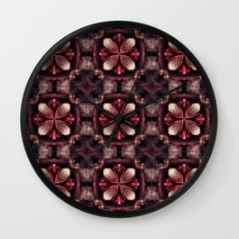Burgundy Fractal Wall Clock