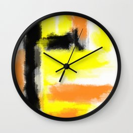 orange yellow and black painting abstract with white background Wall Clock
