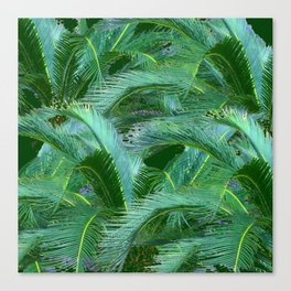 ABSTRACTED BLUE-GREEN TROPICAL PALMS GREEN ART Canvas Print