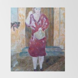 Woman in red Throw Blanket