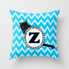Letter Z Cat Monogram Throw Pillow