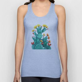 flowering cactus watercolor painting Unisex Tank Top