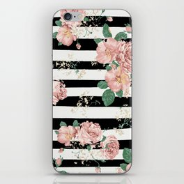 VINTAGE FLORAL ROSES BLACK AND WHITE STRIPES iPhone Skin