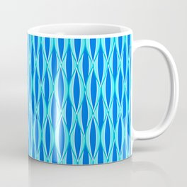 Mid-Century Ribbon Print, Shades of Blue and Aqua Coffee Mug