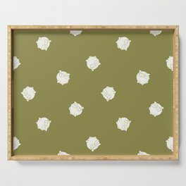 Round Bunny Pattern Cream Green Serving Tray