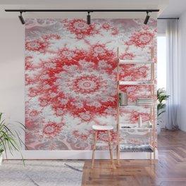 Candy Cane Flower Swirl Fractal - abstract Art Wall Mural