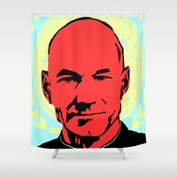 picard Shower Curtains featuring Captain Jean Luc Picard by Chadventure