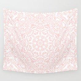 Blush Pink and White Mandala Wall Tapestry