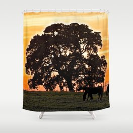 retreat at sunset Shower Curtain