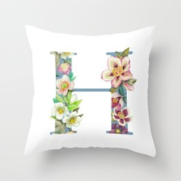 Floral Monogram Collection H Throw Pillow