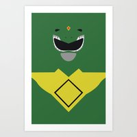 power ranger Art Prints featuring Power Rangers - Green Ranger Minimalist by TracingHorses