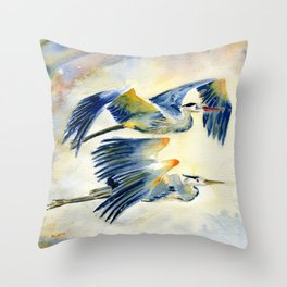 Flying Together - Great Blue Heron Throw Pillow