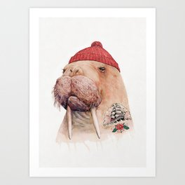 Tattooed walrus Art Print