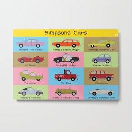 Simpsons Cars Metal Print