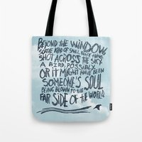 murakami Tote Bags featuring BIRD OR SOUL by Josh LaFayette