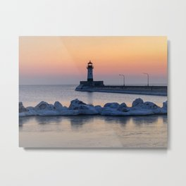 Sunrise at North Pier Lighthouse Metal Print