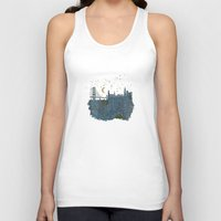 skyline Tank Tops featuring San Francisco skyline old map by Paula Belle Flores