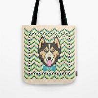 husky Tote Bags featuring Husky by AllisStudio