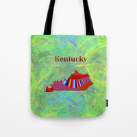 kentucky Tote Bags featuring Kentucky Map by Roger Wedegis
