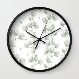 Vintage green white elegant floral illustration Wall Clock