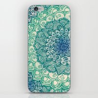 green iPhone & iPod Skins featuring Emerald Doodle by micklyn