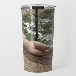 6893-LP Industrial Odalisque Fine Art Nude Woman by the Dead River Travel Mug