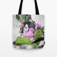 lotus flower Tote Bags featuring Lotus by SEVENTRAPS