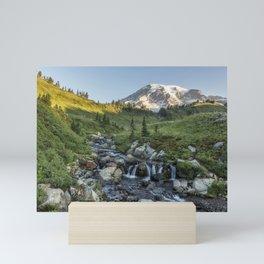 Early Morning Light on Mt Rainier above Edith Creek Mini Art Print