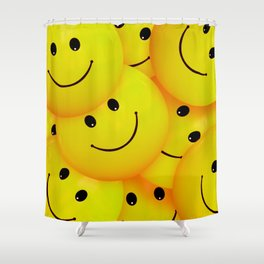 Fun Cool Happy Yellow Smiley Faces Shower Curtain