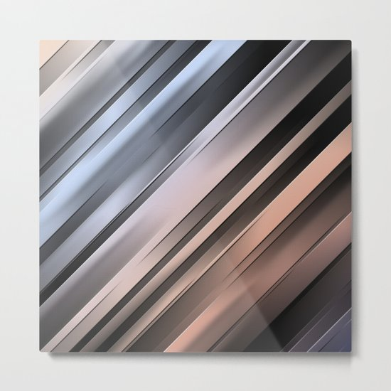 Abstract Diagonal Lines Metal Print