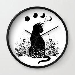 Night Garden Cat Wall Clock