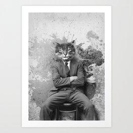 Vintage Black and White Gangster Cat Art Print