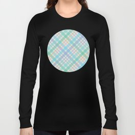 Colorful Plaid Pattern with Green Background Long Sleeve T-shirt