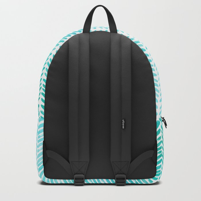 Handpainted Chevron pattern-small-light green and aqua teal Backpack