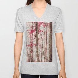 Pink and Brown Fantasy Forest Unisex V-Neck