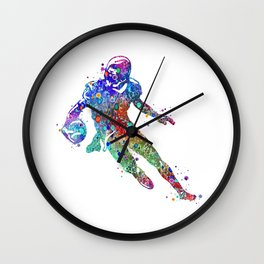 American Football Player Art Colorful Watercolor Gift Wall Clock