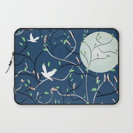 Art Nouveau Moon with Doves (Blue and Silver) Laptop Sleeve